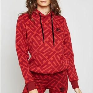 RARE Adidas All Over Print Red Woman's Hoodie